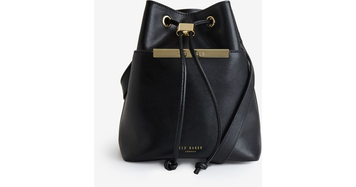 4e2ff911ff93ab Ted Baker Crosshatch Leather Mini Bucket Bag in Black - Lyst