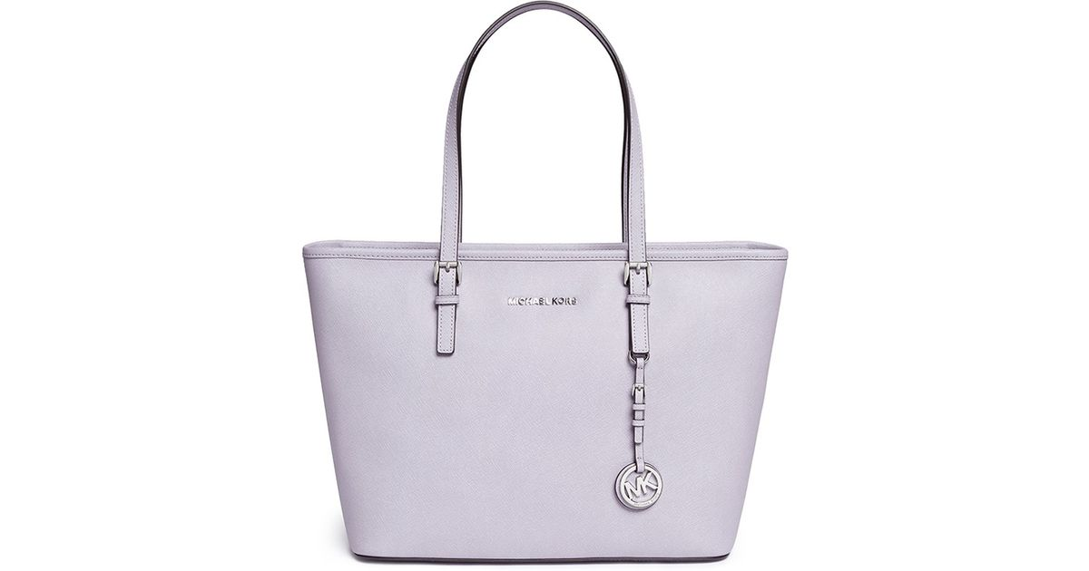 ... promo code for lyst michael kors jet set travel saffiano leather top  zip tote in purple 28431cc325c52