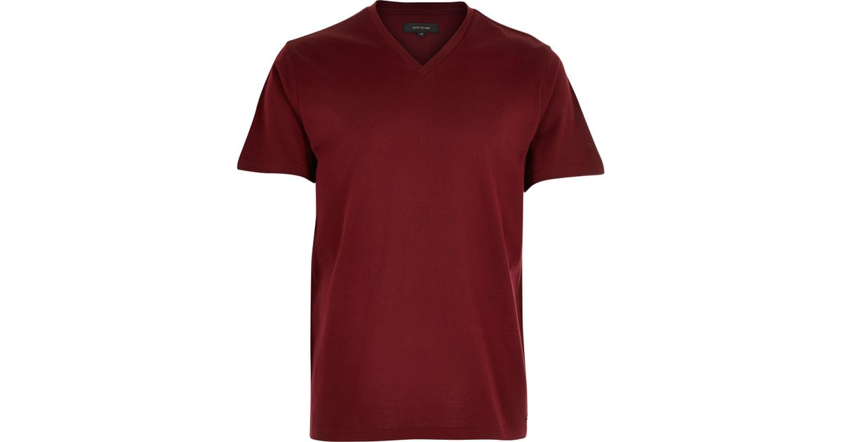 Lyst - River island Dark Red Premium V-neck T-shirt in Red for Men