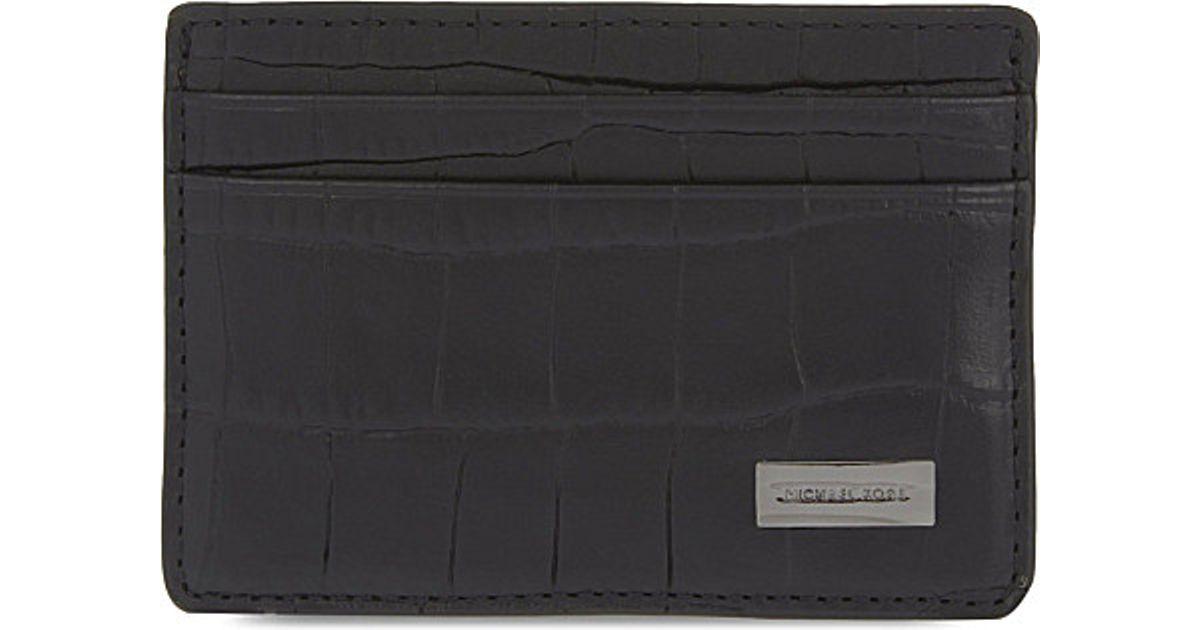 54dbfc7ae23f0 Michael Kors Bryant Croc Embossed Card Holder in Black for Men - Lyst