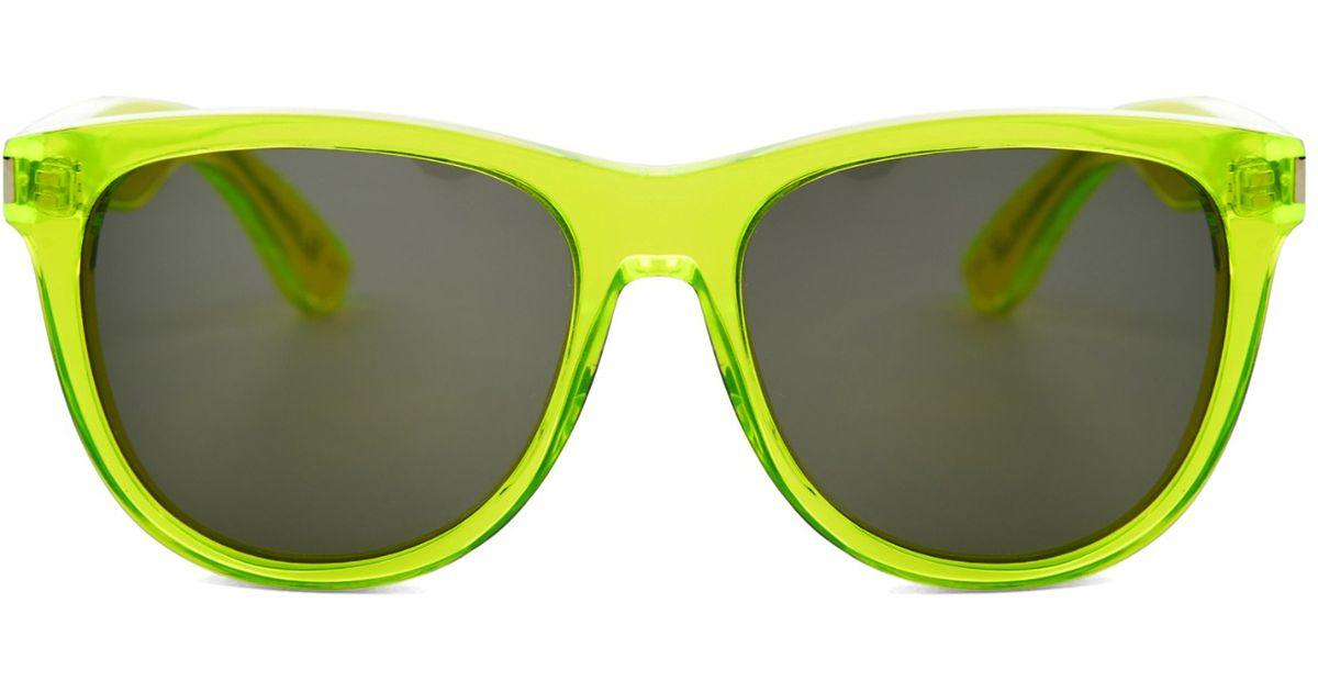 Yellow Frame Sunglasses : Saint laurent D-frame Sunglasses in Yellow Lyst