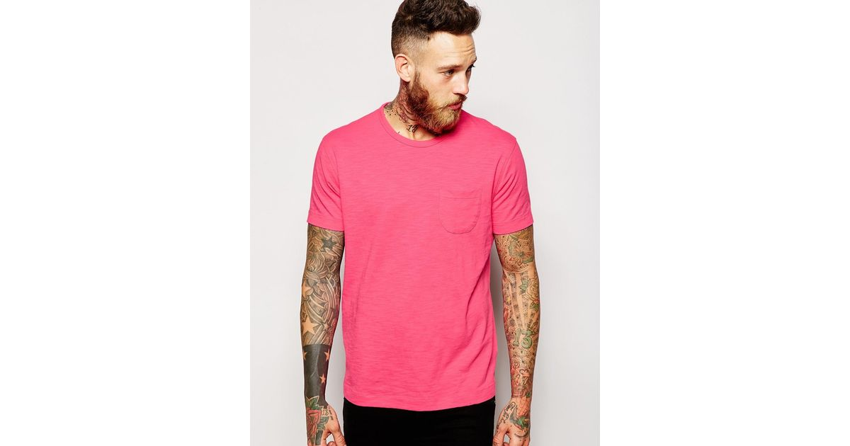 Lyst - Ymc T-shirt With Pocket In Neon Pink in Pink for Men