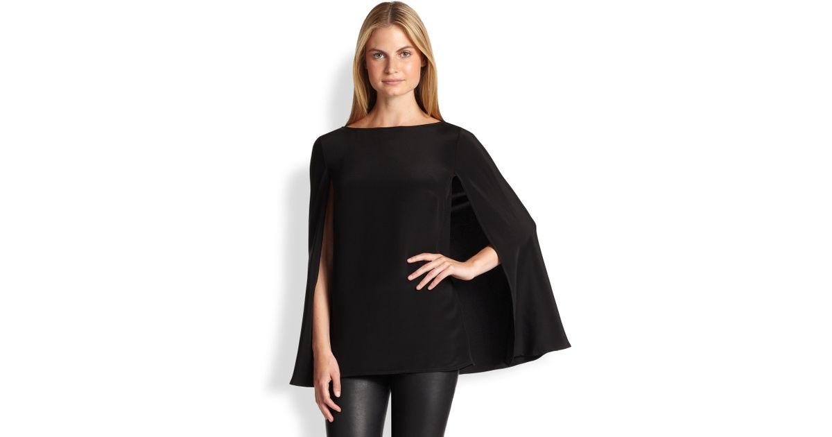 3c1e400a693df Lyst - Ralph Lauren Black Label Noelle Silk Cape Blouse in Black
