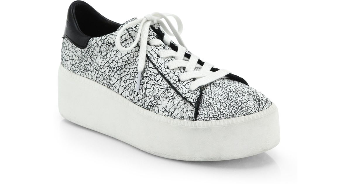58dbe94158ae Lyst - Ash Cult Crackled Leather Platform Sneakers in White