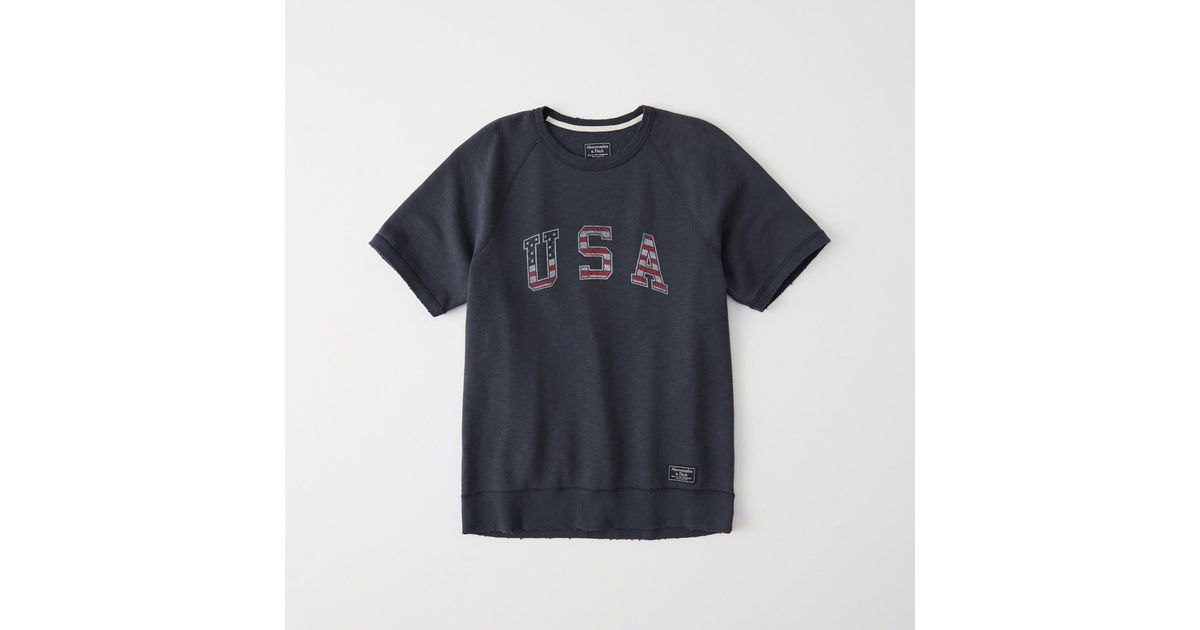 lyst abercrombie fitch usa short sleeve crew in blue for men