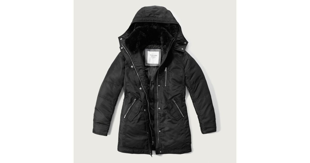 Abercrombie And Fitch Clothing Abercrombie And Fitch Hoodies Abercrombie And Fitch Jackets Abercrombie And Fitch Sweater: Abercrombie & Fitch Long Nylon Parka In Black