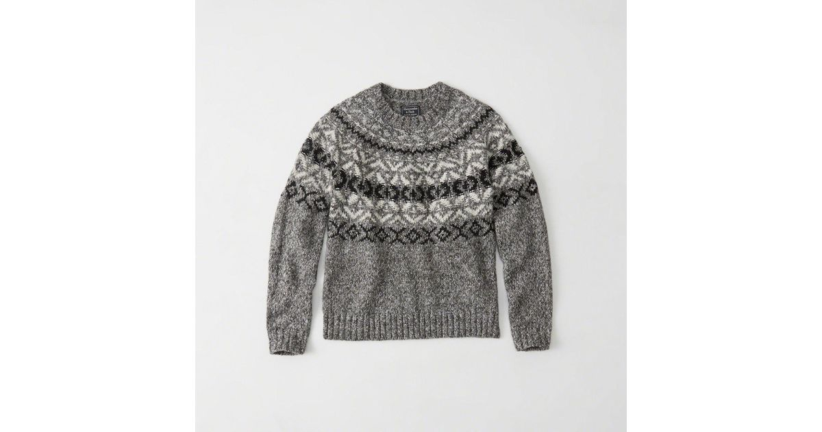 Abercrombie & fitch Fair Isle Crew Sweater in Gray - Save 34% | Lyst