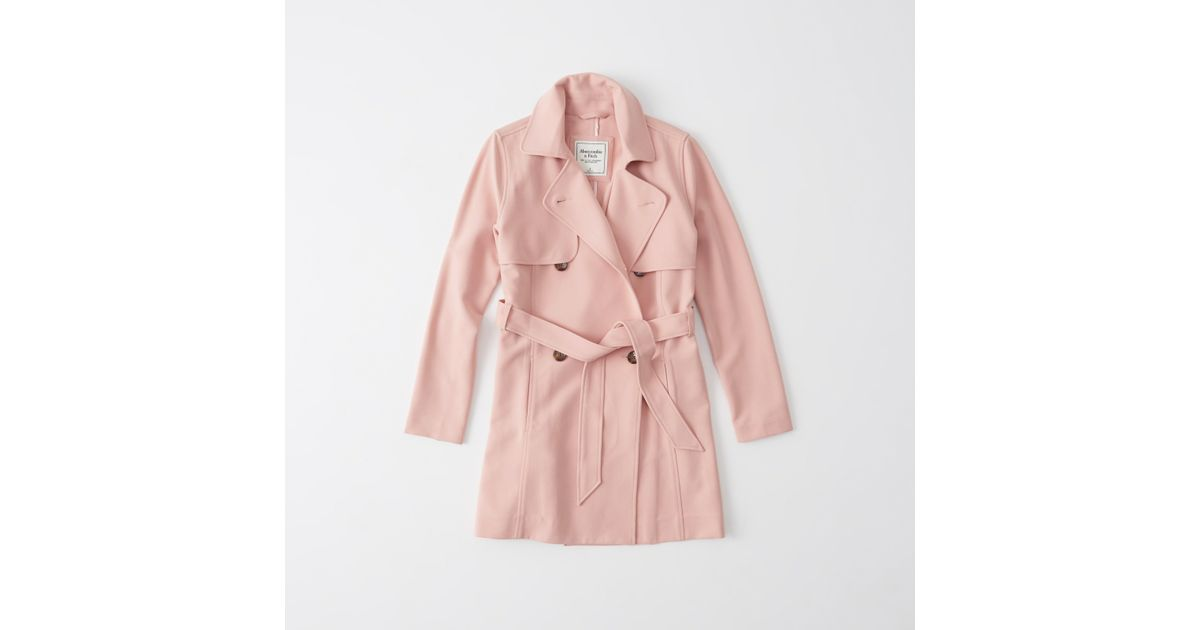 Abercrombie & Fitch Classic Trench Coat In Pink