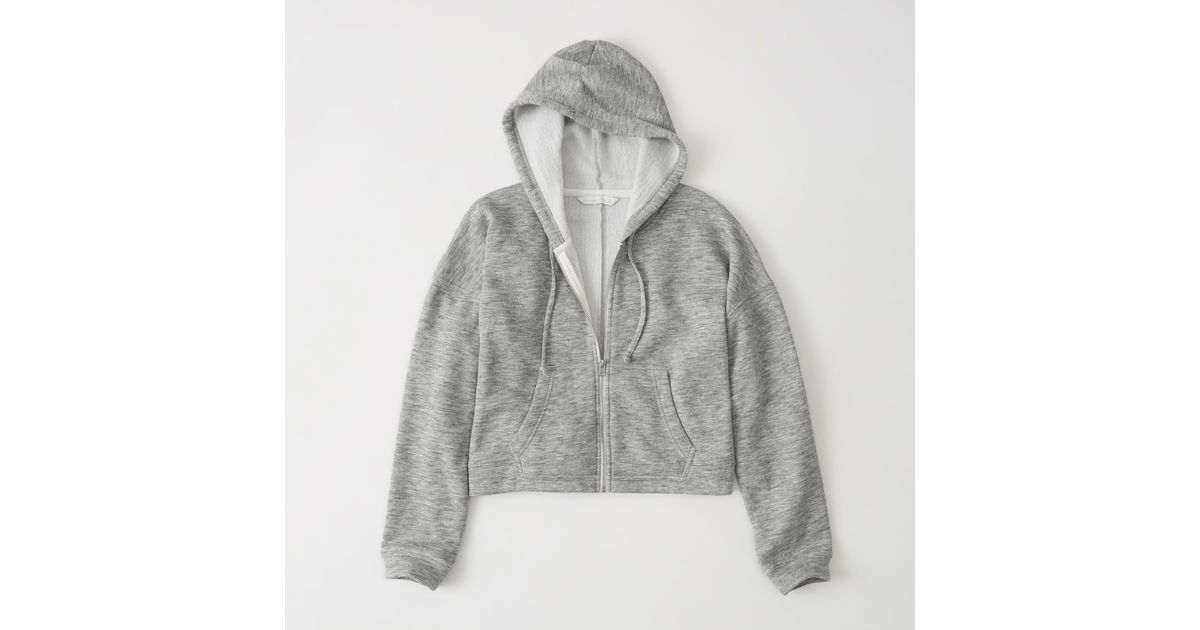 Abercrombie And Fitch Clothing Abercrombie And Fitch Hoodies Abercrombie And Fitch Jackets Abercrombie And Fitch Sweater: Abercrombie & Fitch Cushy Knit Cropped Hoodie In Grey