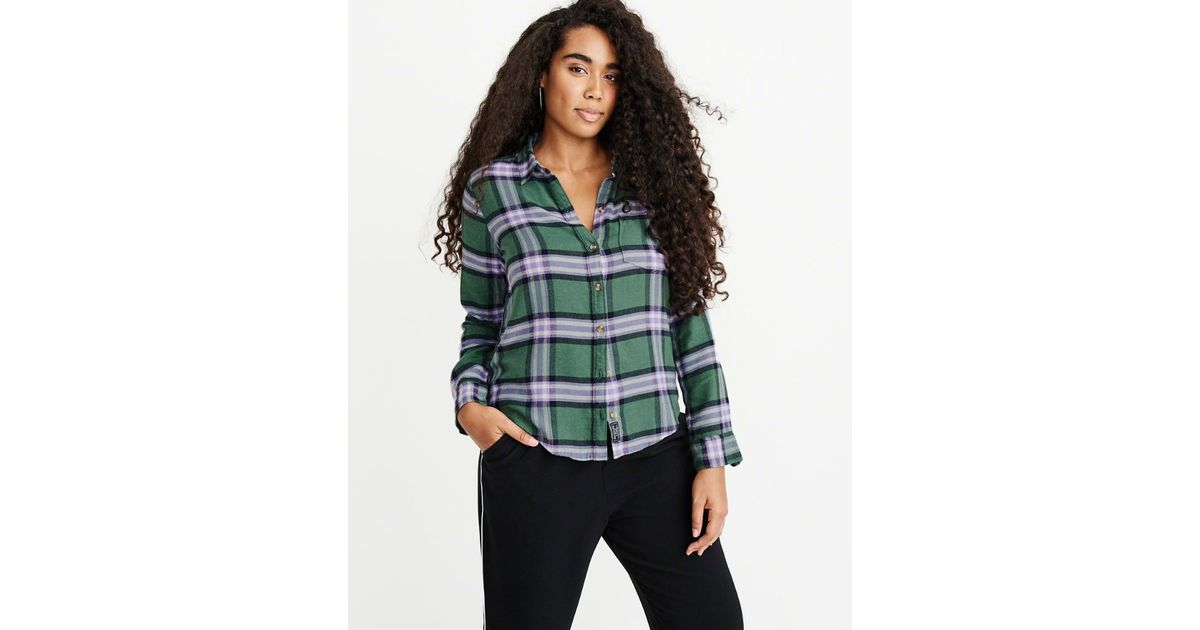 Lyst - Abercrombie   Fitch A f Flannel Shirt in Green 741751e14