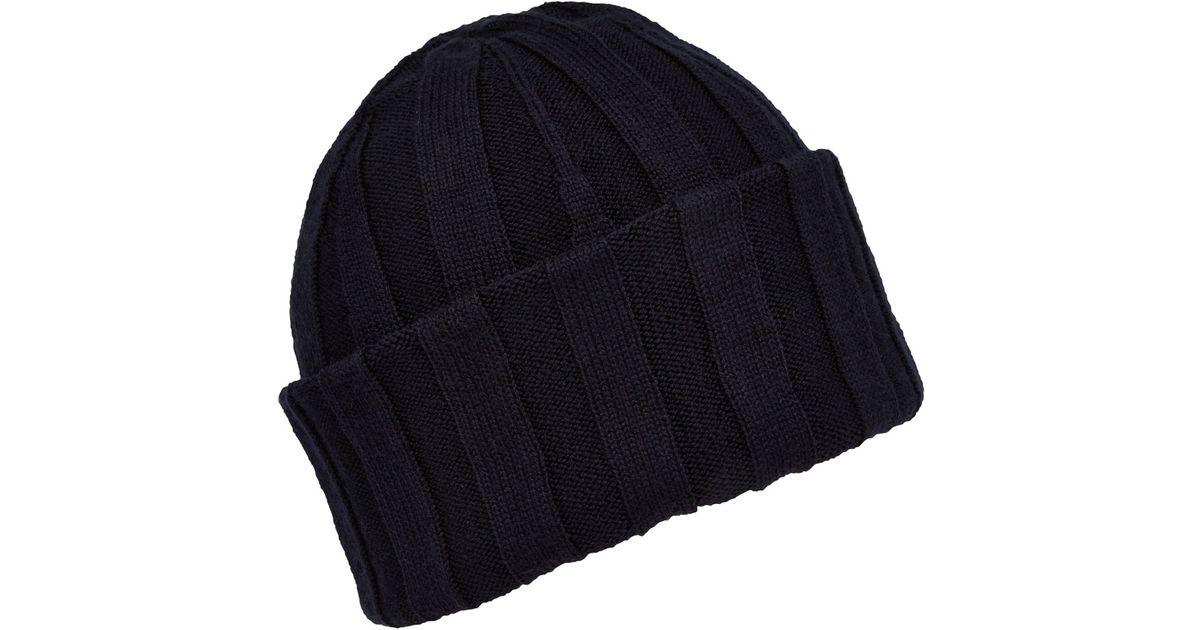 3651f9e9b16 Lyst - John Smedley Navy Hindburn Merino Knit Beanie Hat in Blue for Men