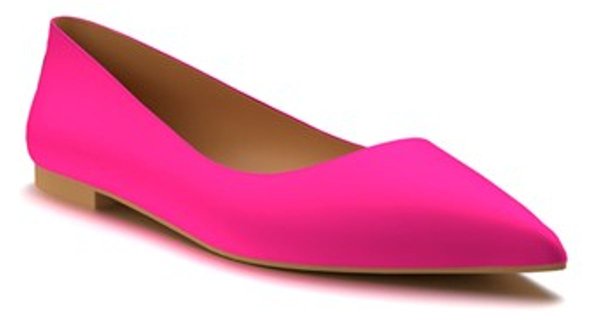 shoes of prey pointy toe flat in pink pink silk lyst