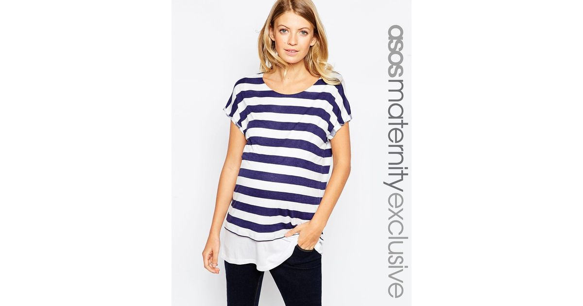 0ca257c7db53d ASOS Nursing T-shirt With Double Layer In Wide Stripe in Blue - Lyst