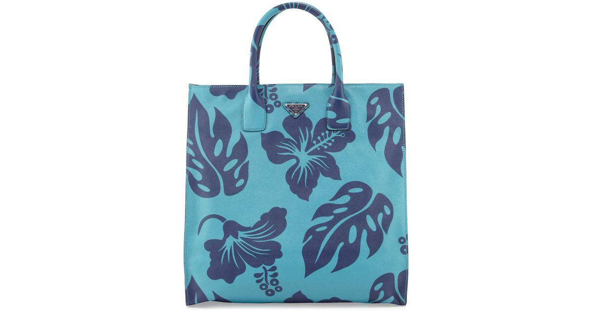 316d6f2d4572fa ... where to buy lyst prada mens hibiscusprint saffiano leather tote bag in  blue 6b2f1 2f710