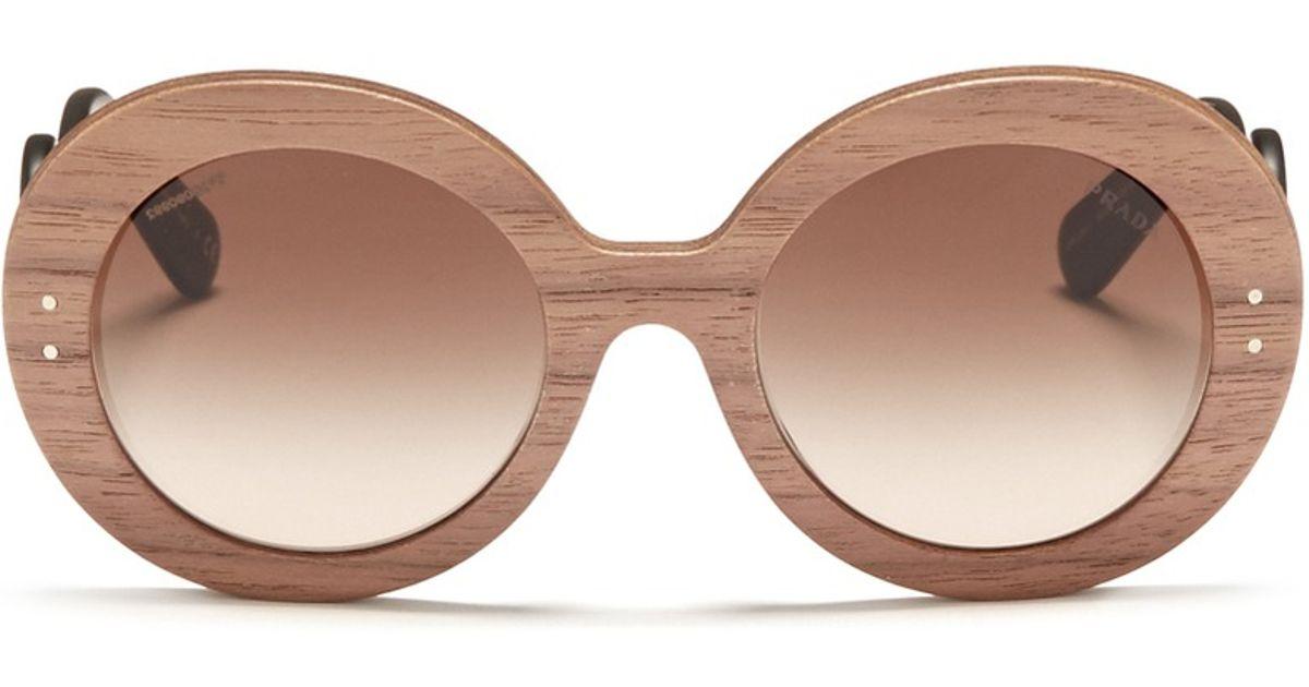 2f34b520c859 Prada Swirl Temple Round Wooden Sunglasses in Brown - Lyst