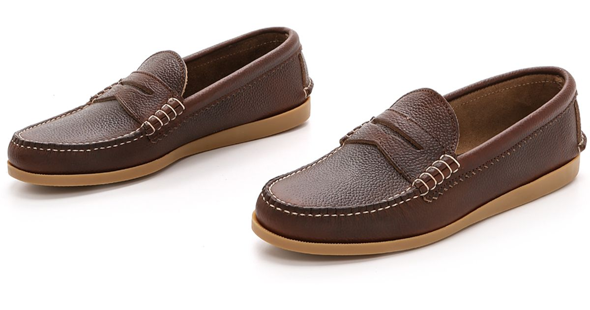 d3a4a5754da Lyst - Quoddy Pebbled Penny Loafers in Brown for Men