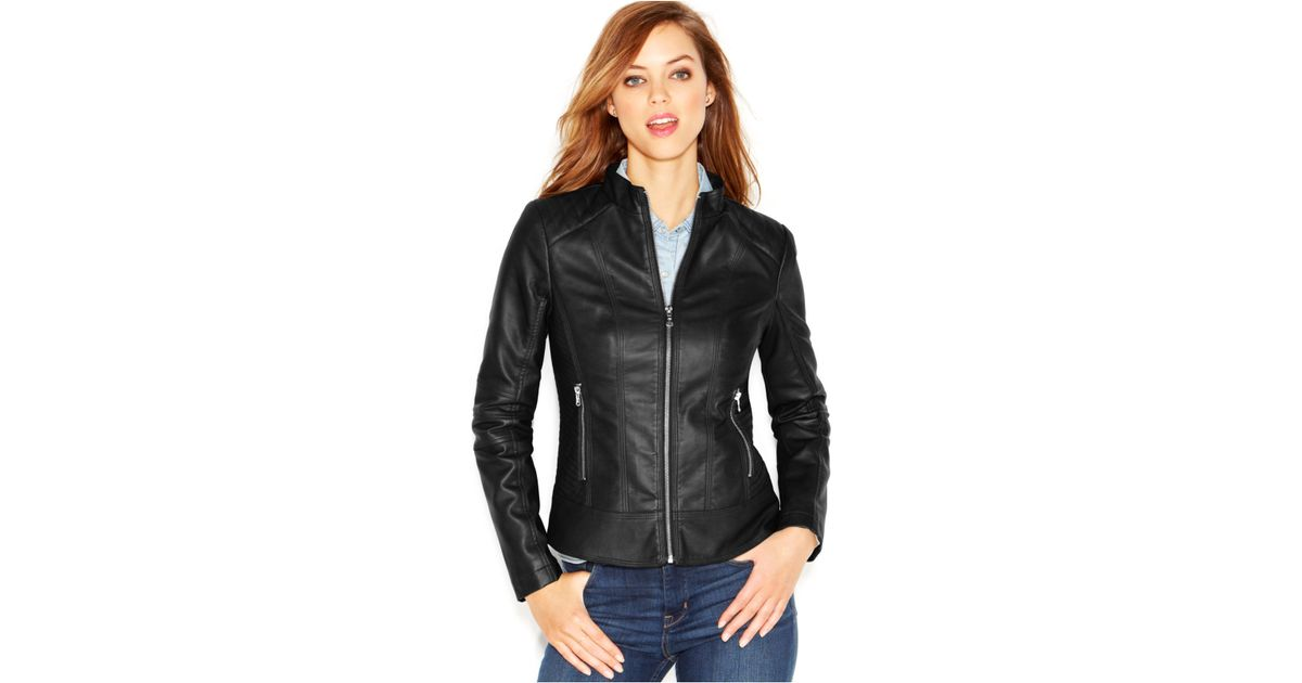 3909a82661e Guess Quilted-Detail Faux-Leather Moto Jacket in Black - Lyst