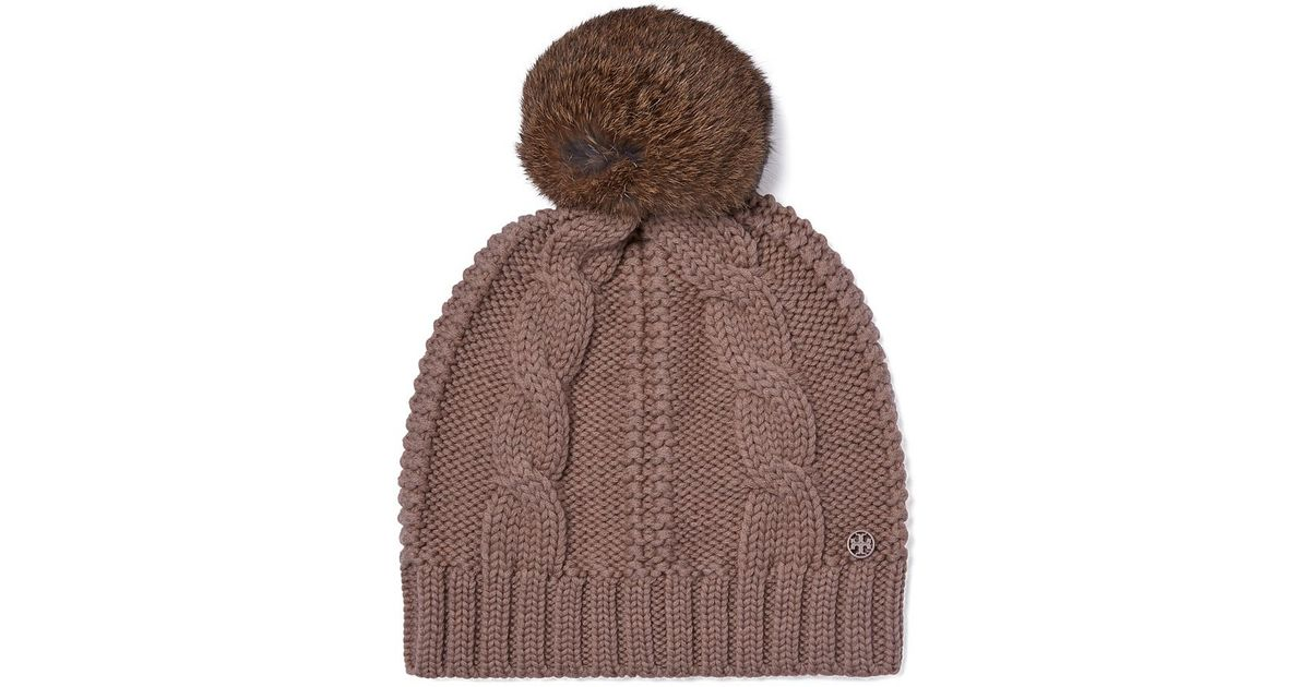 83e854fa31c Lyst - Tory Burch Large Cable-knit Pom-pom Hat in Brown