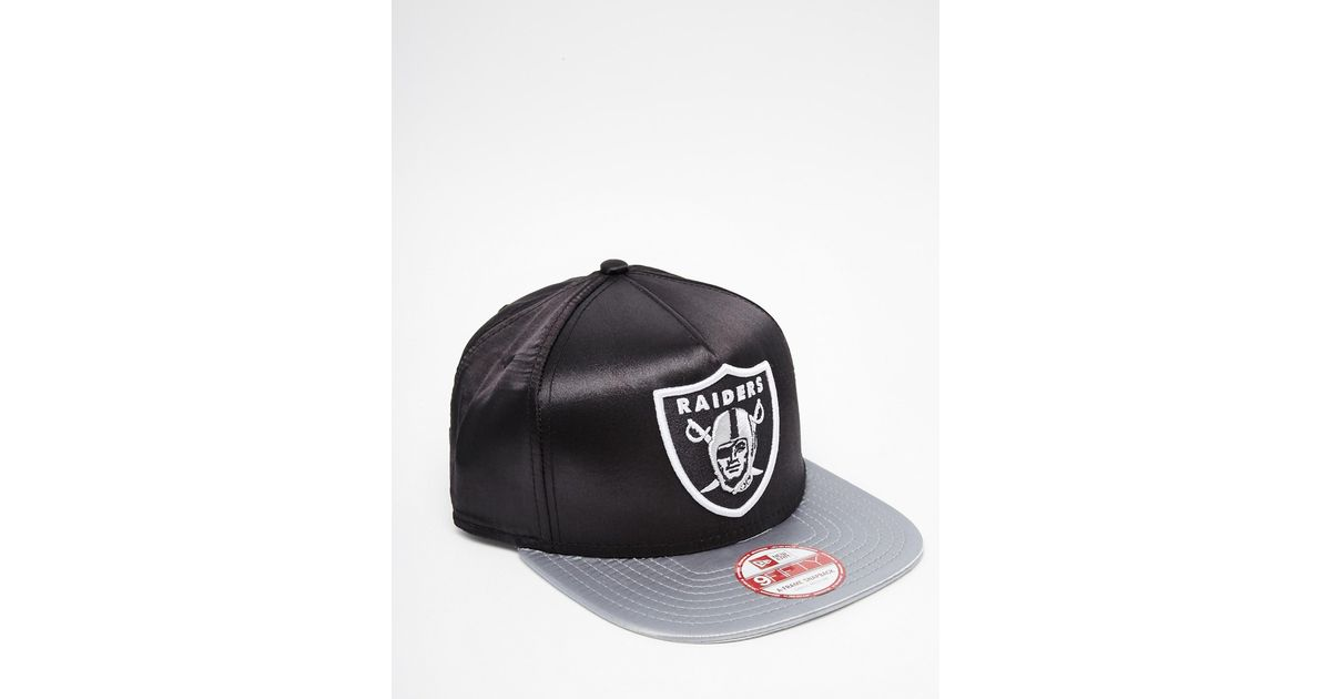 83f61ee13ad Lyst - KTZ 9fifty Raiders Satin Snapback Cap in Black for Men