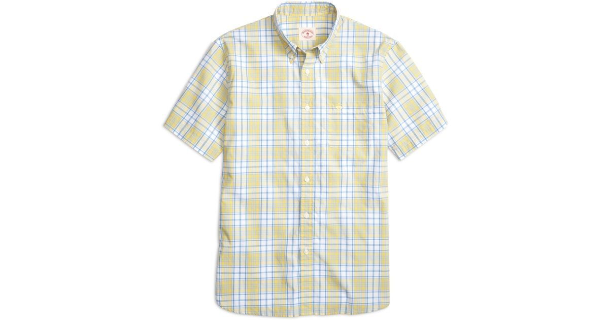 Brooks brothers yellow and blue plaid short sleeve sport for Blue and yellow plaid dress shirt