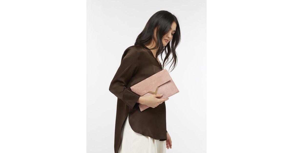 121f8f9ed Accessorize Natalie Suedette Envelope Clutch Bag in Pink - Lyst