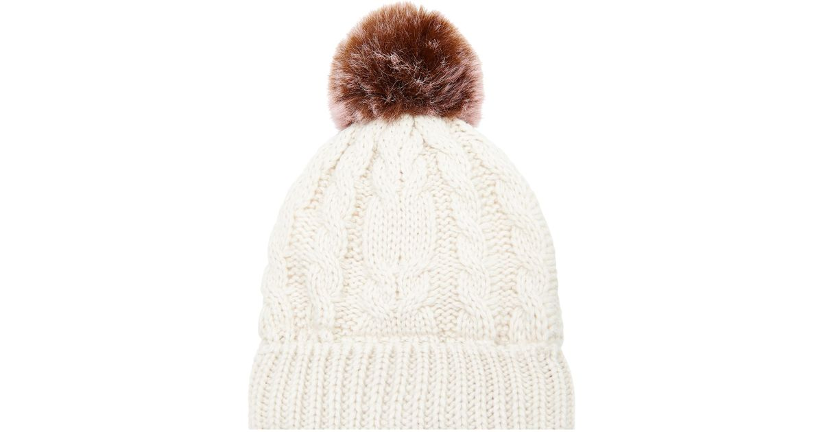 72825086f3a Accessorize Thinsulatetm Contrast Pom Pom Beanie Hat in White - Lyst