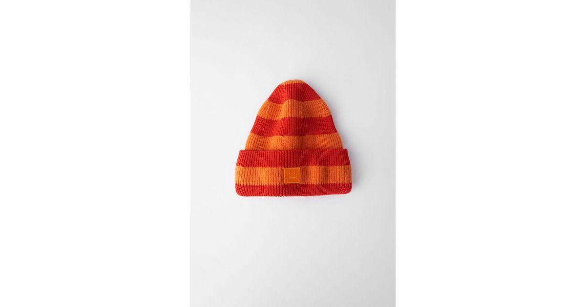 34ec332e23e Lyst - Acne Studios Striped Beanie geranium Orange in Orange