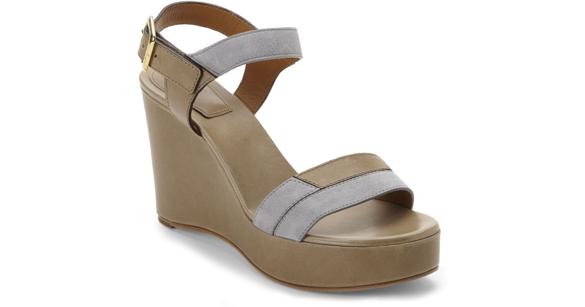 chlo 233 beige grey platform wedge sandals in gray beige