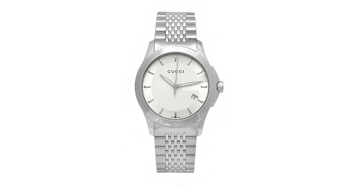 c3576288e71 Lyst - Gucci Men S G-Timeless Silver Dial Stainless Steel Bracelet in  Metallic for Men