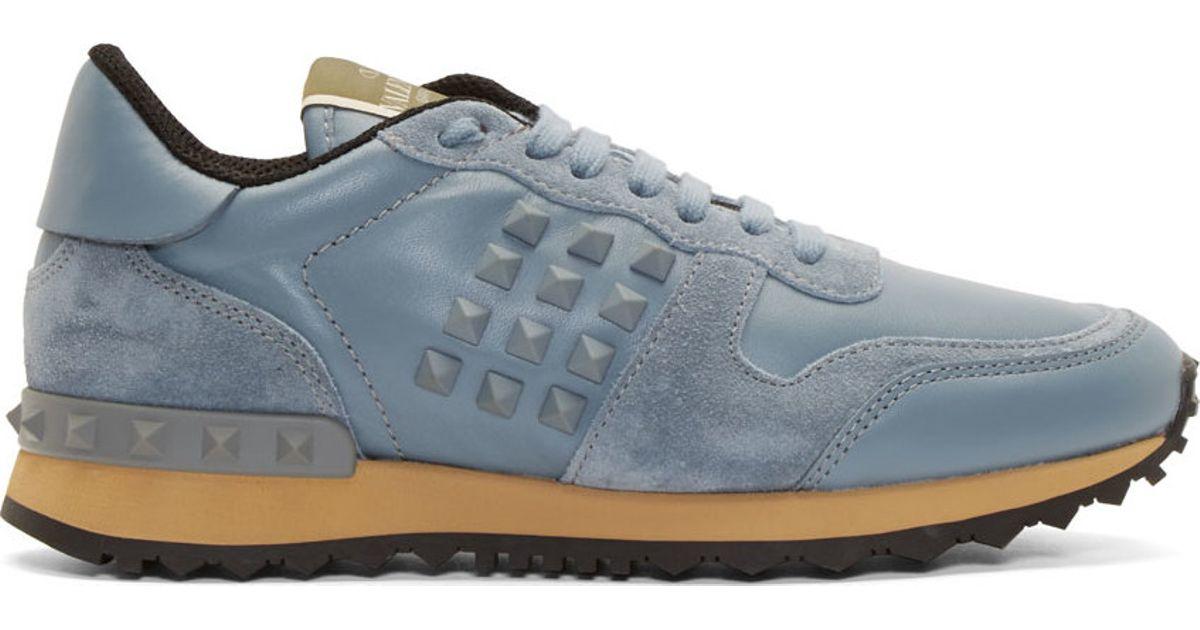 Lyst Valentino Slate Blue Suede Rockstud Sneakers In Gray