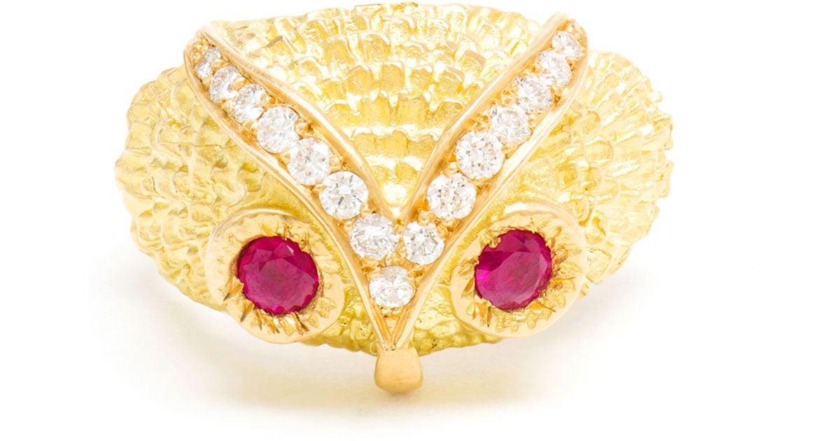Yvonne Léon Gold Owl Diamond Ring 5RbXxlG4B