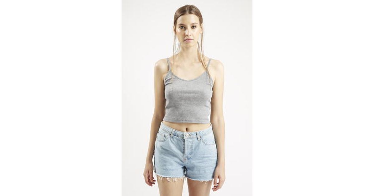 62dd6e1a65692f Lyst - TOPSHOP Petite Ribbed Cropped Cami in Gray