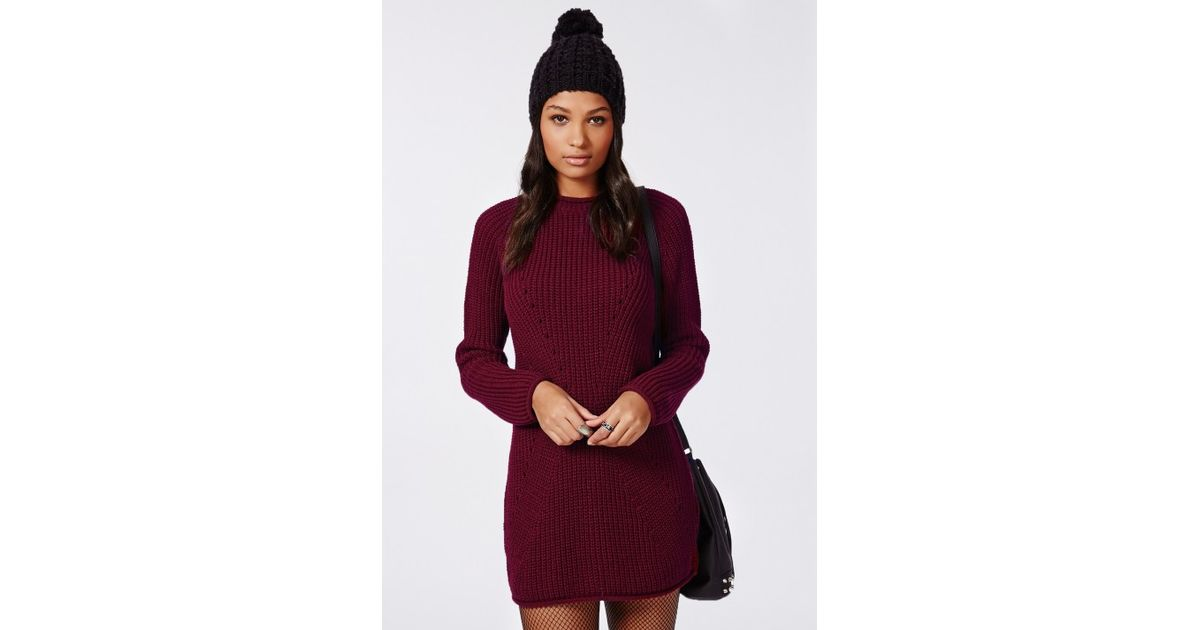 a0847c2ec5 Lyst - Missguided Ashlie Knitted Sweater Dress Burgundy in Purple