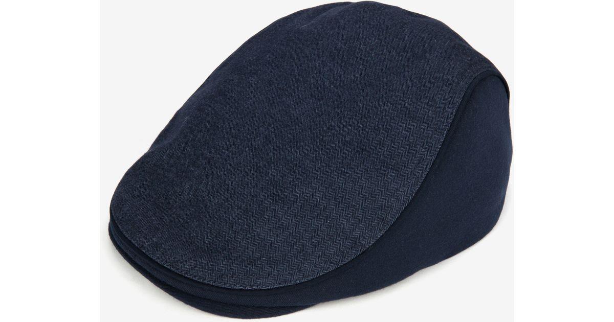 255a458a Ted Baker Herringbone Flat Cap in Blue for Men - Lyst