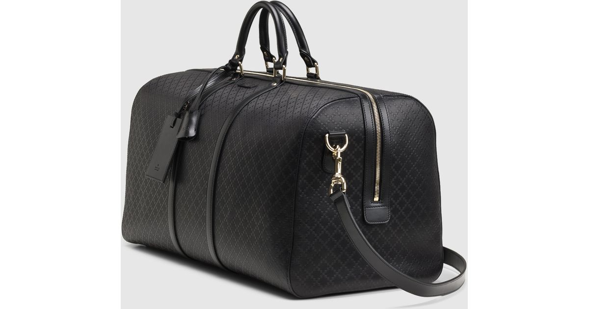 Gucci Bright Diamante Leather Carry-on Duffle Bag in Black for Men ...
