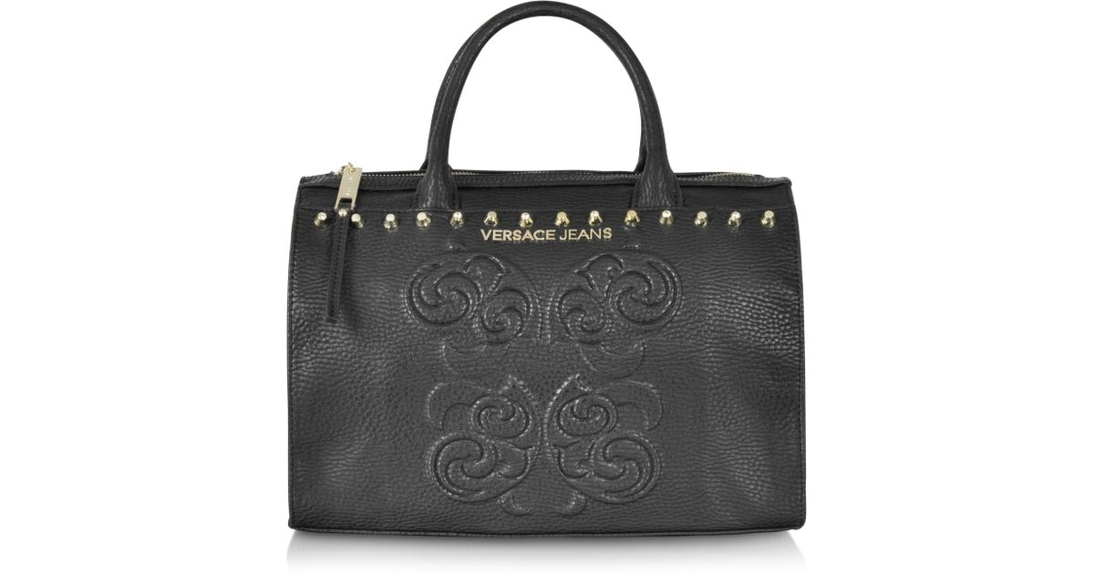 5d2d9466f3879 Lyst - Versace Jeans Black Studded and Embroidered Eco-leather Bowling Bag  in Black