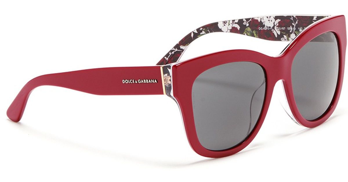 8091726d0fa Lyst - Dolce   Gabbana Rose Print Interior Acetate Sunglasses in Red