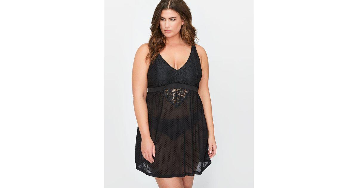 0e56915dcd Lyst - Addition Elle V-neck Babydoll - Déesse Collection in Black