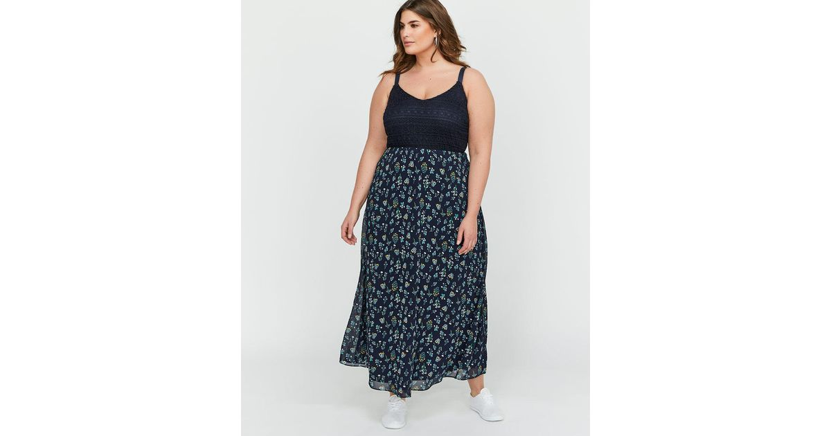 f345d30411 Lyst - Addition Elle Michel Studio A-line Empire Waist Mixed Fabric Maxi  Dress in Blue