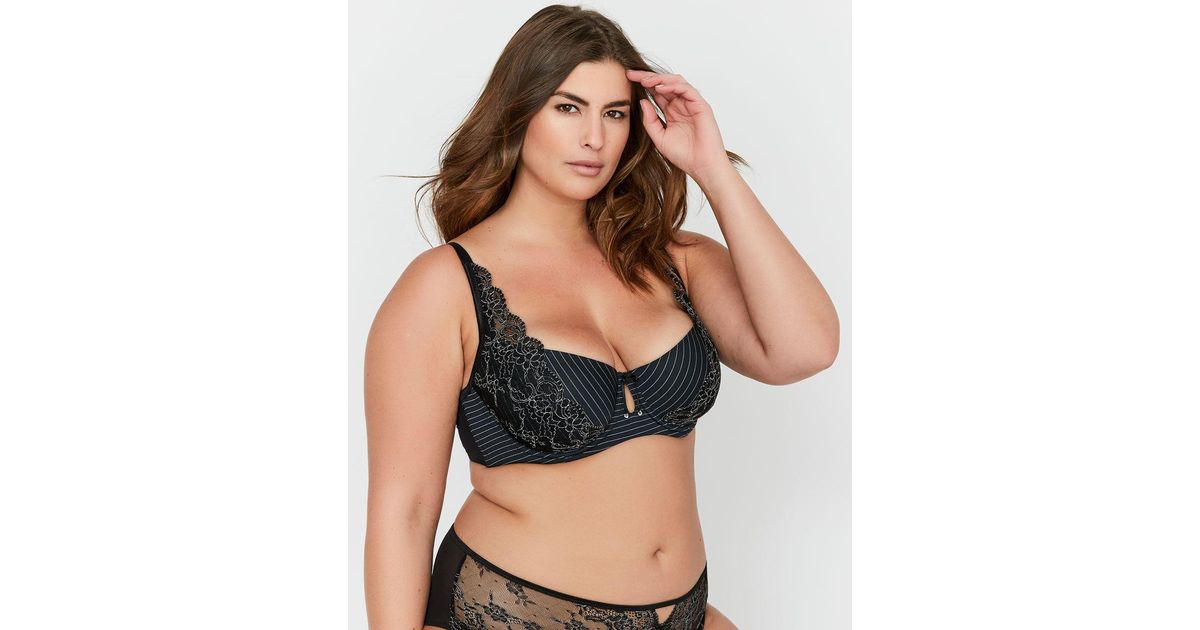 d1993c35da Lyst - Addition Elle Ashley Graham Lace And Striped Diva Bra in Black