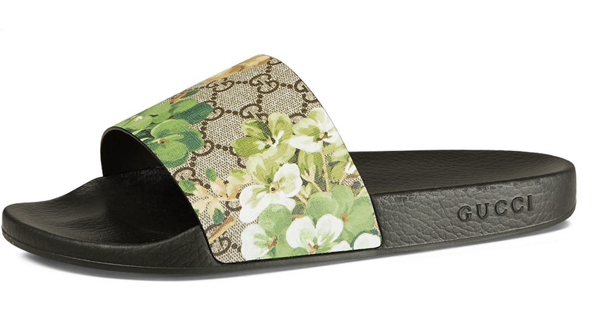 b5f50865aef Gucci Pursuit Blooms Printed Sandal - Lyst