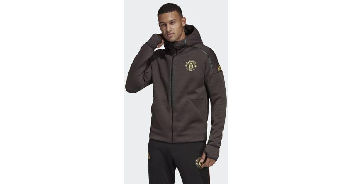 best sneakers c90c9 241b5 Lyst - adidas Manchester United Chinese New Year Z.n.e. Hoodie in Black for  Men