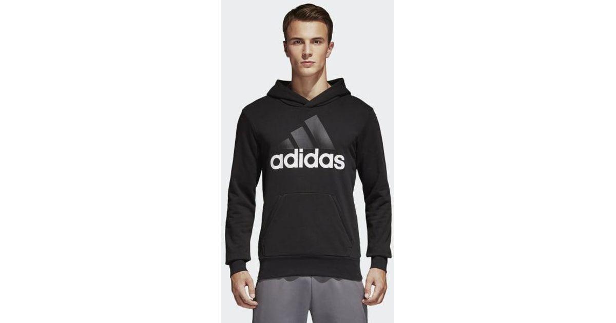1aecfb902f Adidas - Black Essentials Linear Pullover Hoodie for Men - Lyst