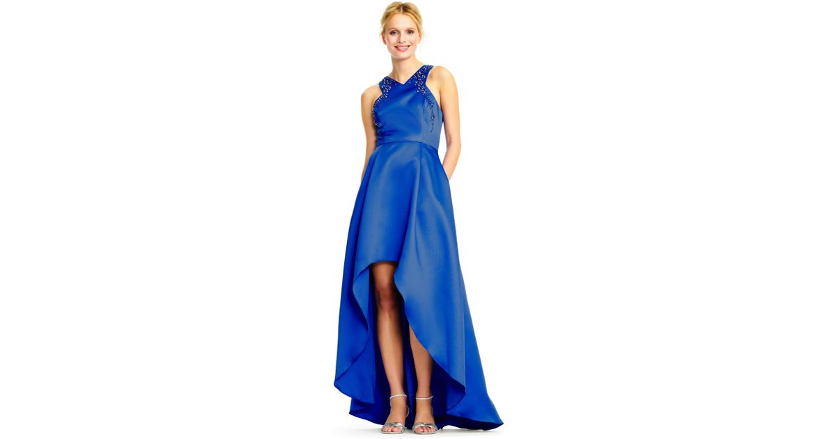 Lyst - Adrianna Papell High Low Ball Gown With Bead Embellished ...
