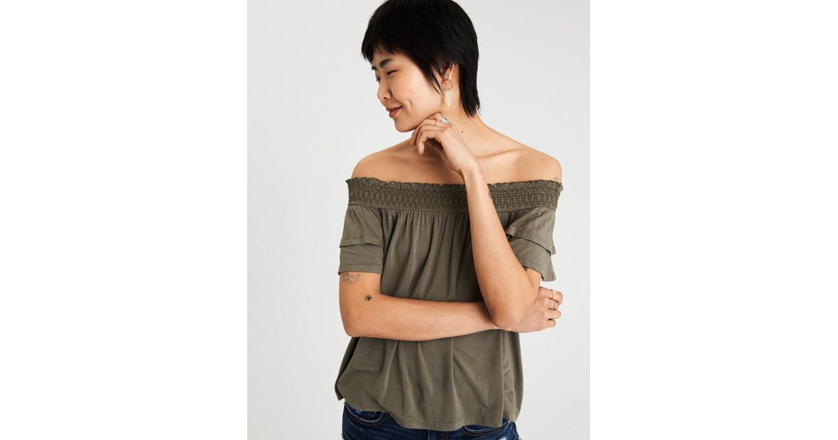 12da70cd80a78a Lyst - American Eagle Ae Soft   Sexy Smocked Off-the-shoulder Top in Green