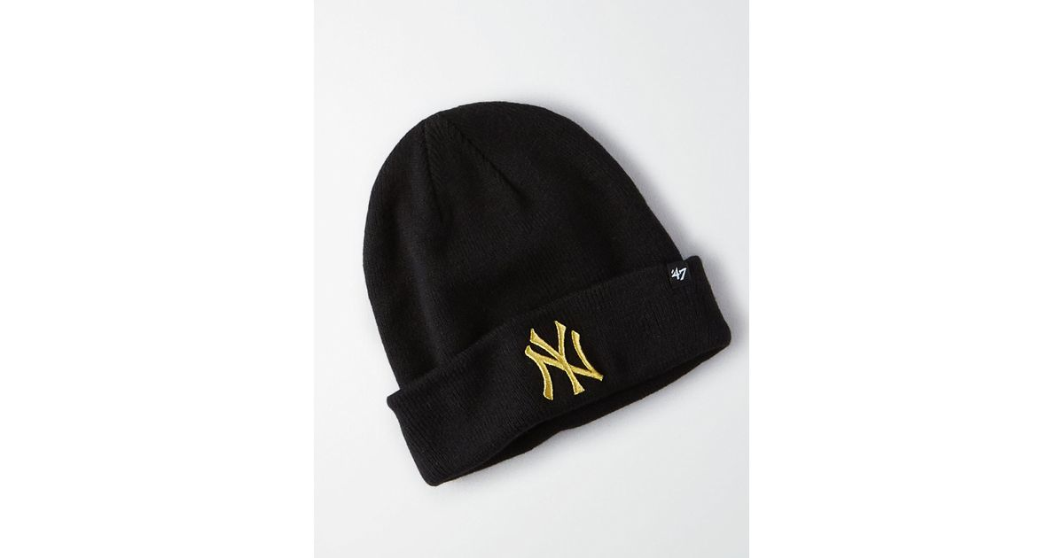 106fe95a3d1 Lyst - American Eagle  47 Brand New York Yankees Cuff Knit Beanie in Black