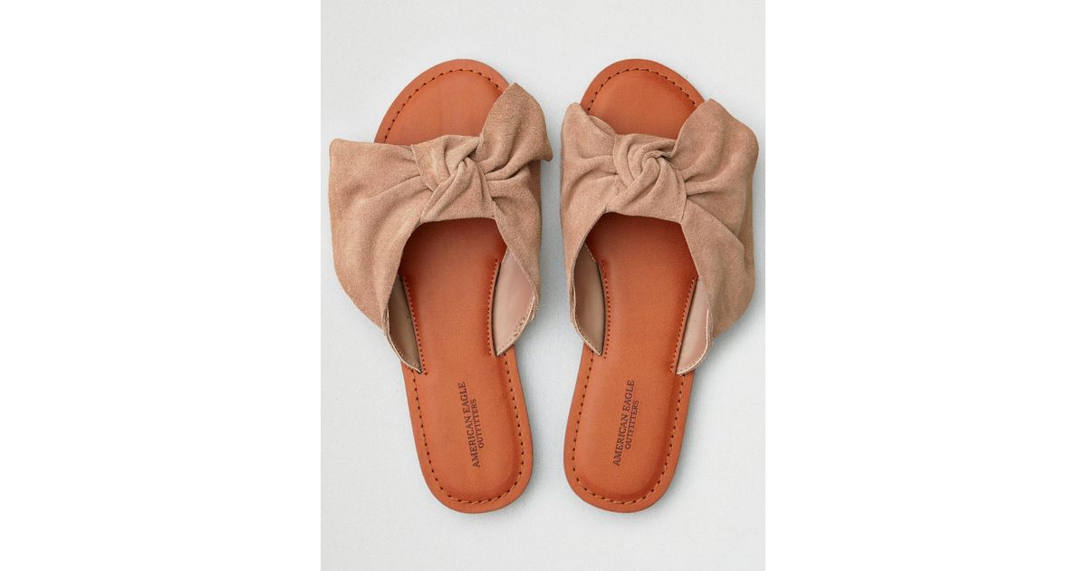 e6db9cea1 American Eagle Oversized Bow Slide Sandal in Brown - Lyst