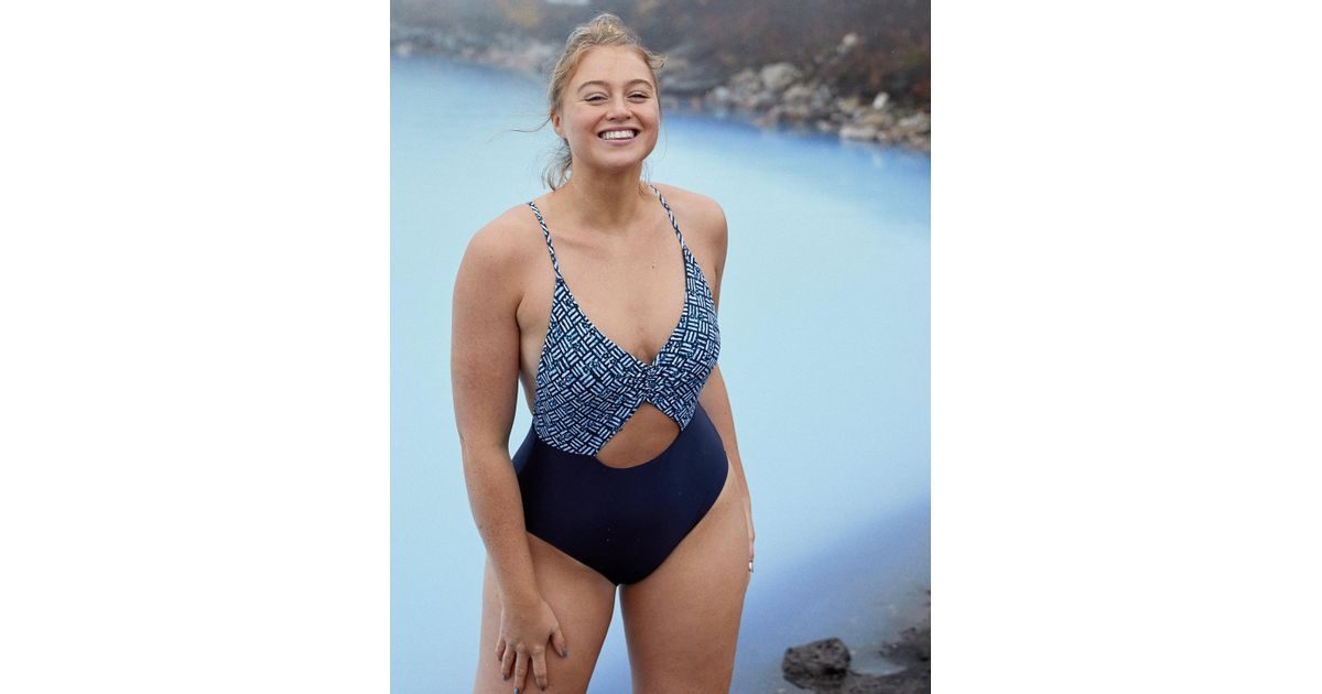 ee0d8e2cb1a American Eagle Cutout Voop One Piece Swimsuit in Blue - Lyst