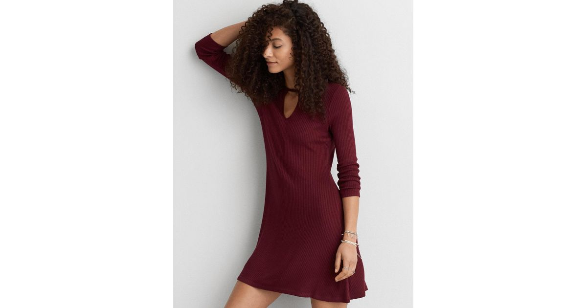 21bf4d772287 American Eagle Soft & Sexy Ribbed Keyhole Dress in Red - Lyst