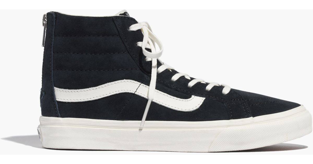 Lyst - Madewell Vans® Sk8-Hi Slim Zip High-Top Sneakers In Navy Leather in  Blue 0ecc04998